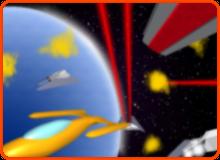 Bild, das eine Raumschlacht zeigt als Computergrafik