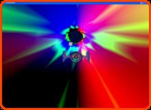 Anfangsstadium (verrückt colorierte Röhre, Raumschiff, Würfel als Hindernis)